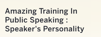 Speaker's Personality