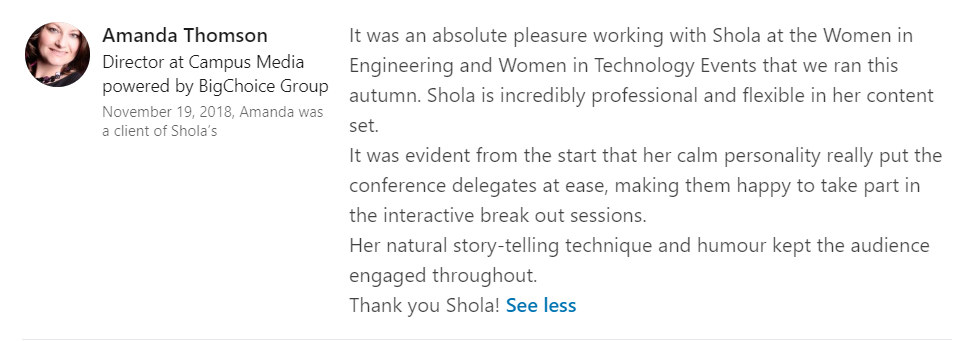 Women in Tech testimonial