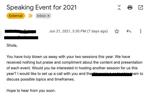 Shola client feedback